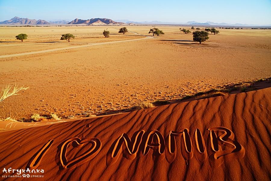 Widok z Elim Dune na skały Namib.