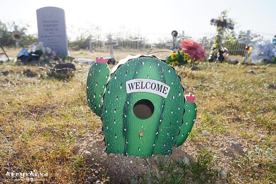 Kaktusowy nagrobek. Cmentarze Route 66 mają niezwykły klimat.