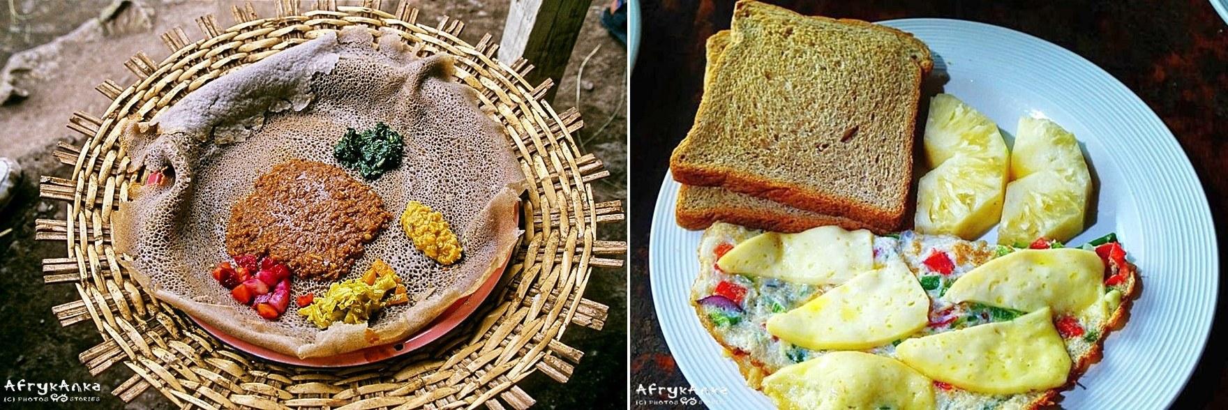 Etiopska injera - smak specyficzny, ale już jajecznica w Ugandzie - pycha!
