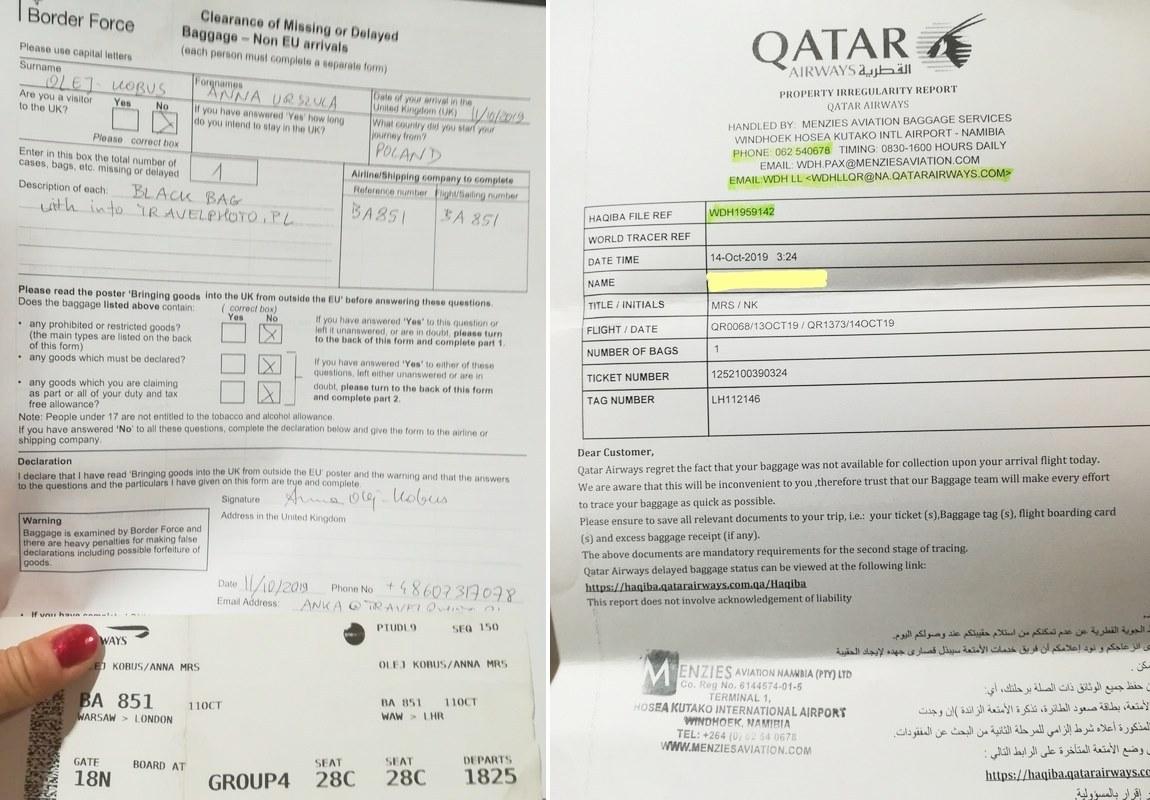 Zaginięcie bagażu: formularz BA/Virgin oraz Qatar.