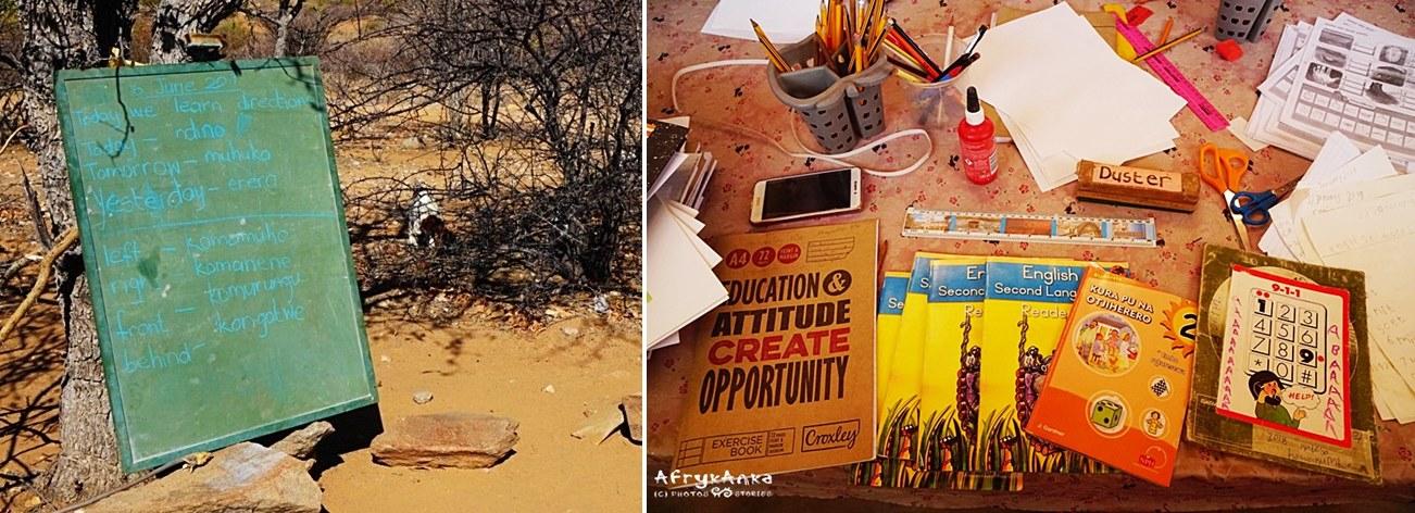 Szkoły w Afryce są różne: czasem tylko tablica, czasem pełne wiedzy biurko nauczycielki :)
