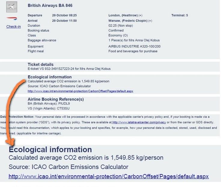 Kalkulacja emisji CO2 przy locie Polska-Wielka Brytania-RPA-Zimbabwe-Wielka Brytania-Polska