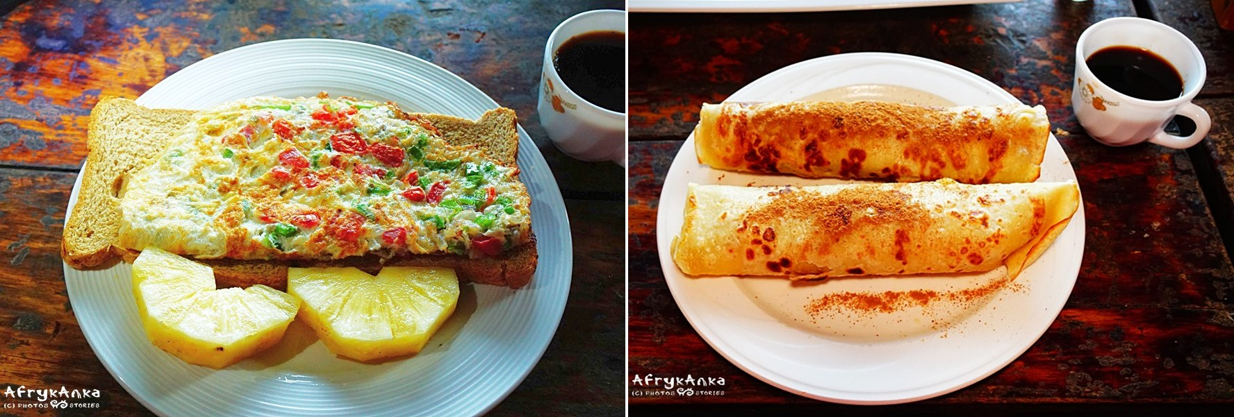 Śniadanie: tosty i omlet lub naleśniki.