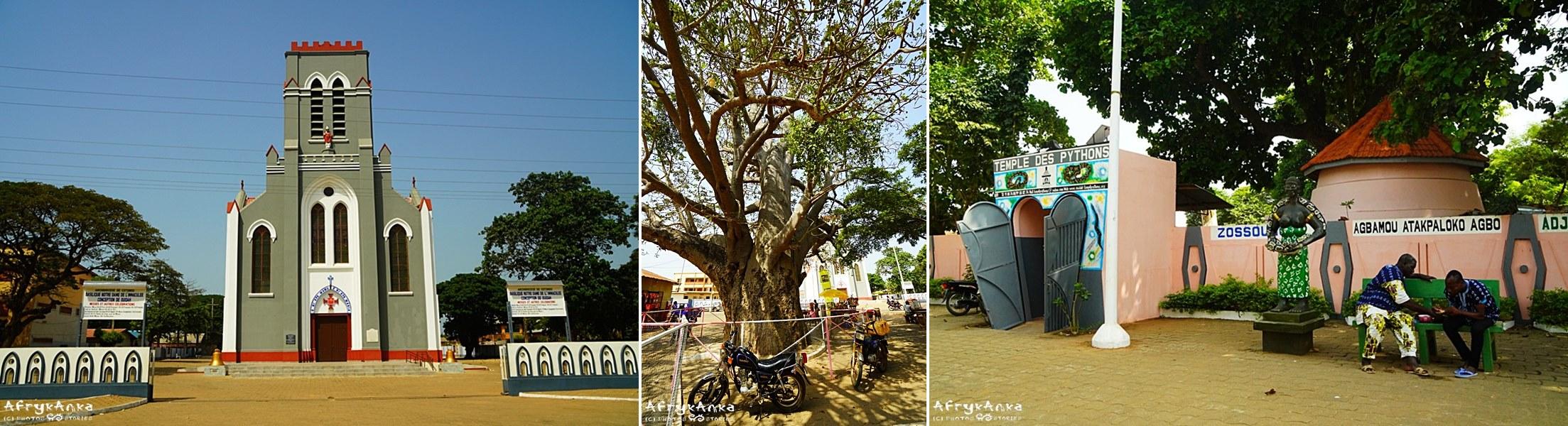 Kościół, baobab, świątynia pytonów - w zgodzie i obok siebie.