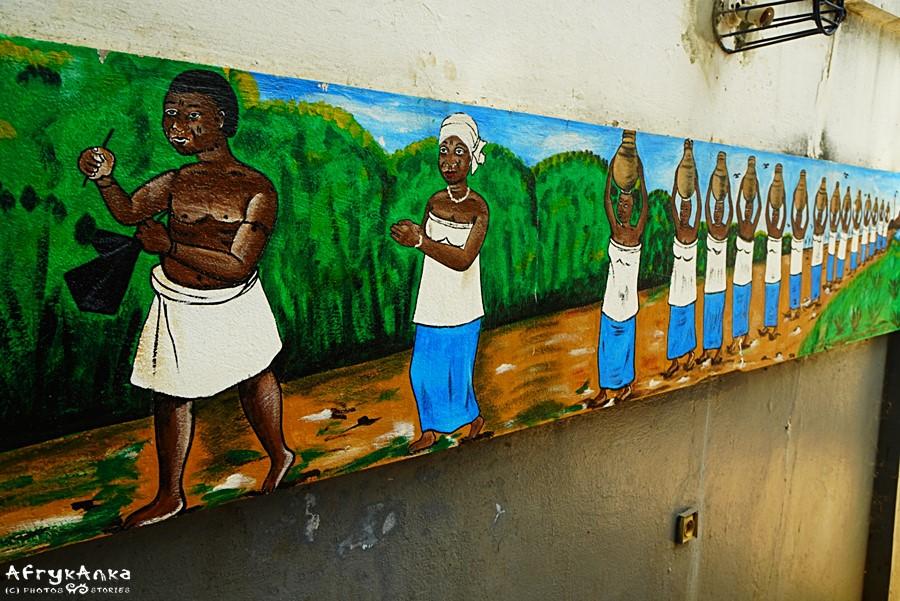 Świątynia pytonów - malunek procesji w Ouidah.