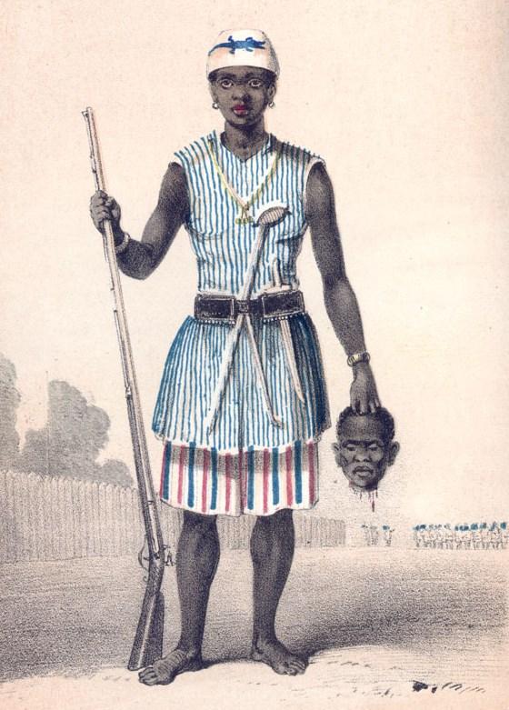 Seh-Dong-Hong-Beh, jedna z dowódczyń Amazonek (ryt Fredericka Forbesa z 1851).