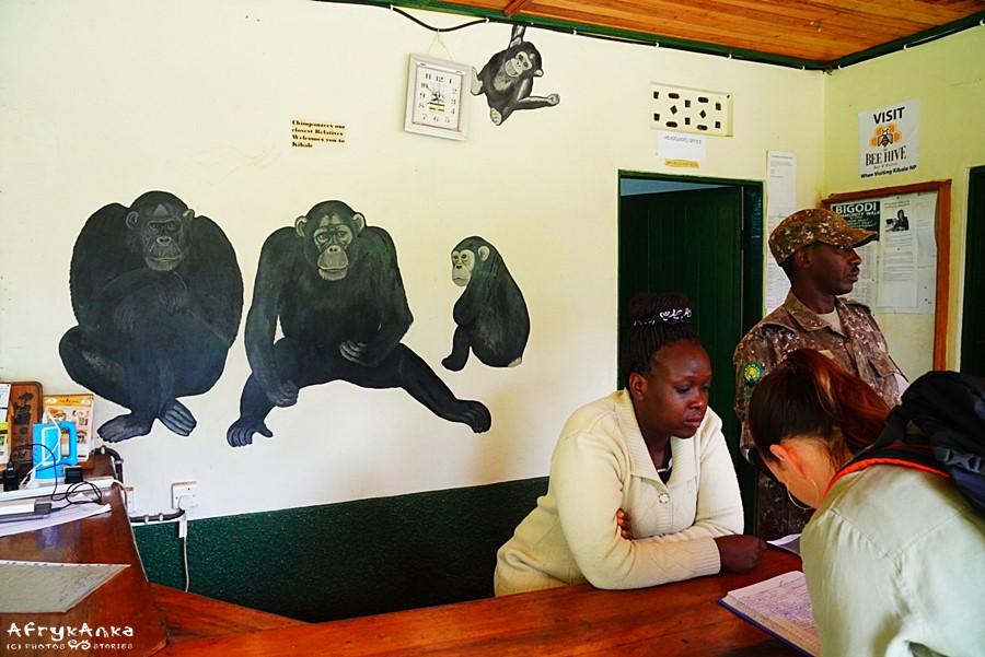 Siedziba PN Kibale. Wpisujemy się do księgi wyjść.
