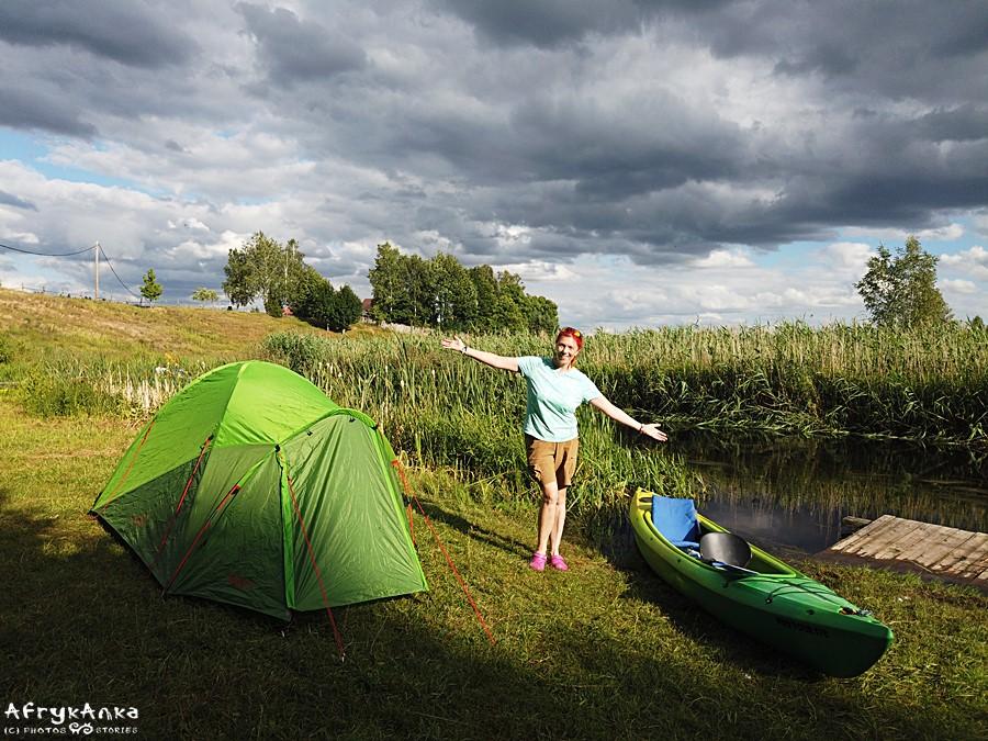 Biwak gotowy! Łucja śpi w namiocie :)