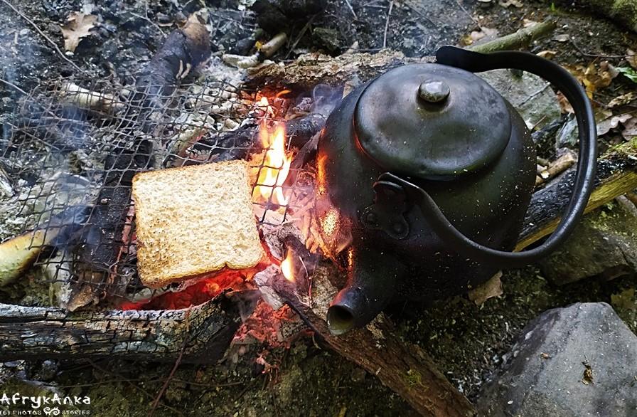 Pieczemy tosty na ognisku.