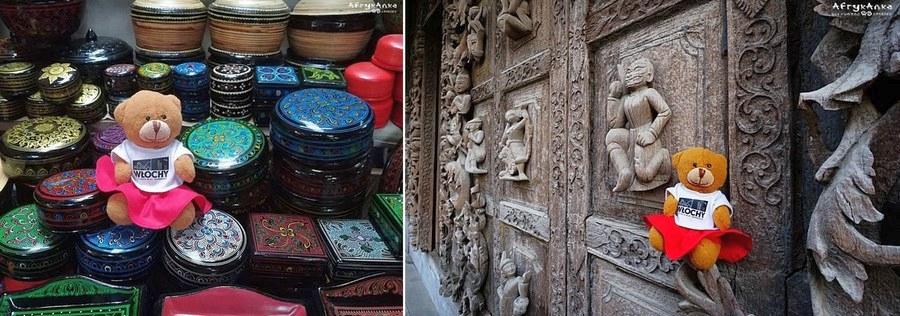 Wspaniałe rękodzieło: laka i ściana świątyni.
