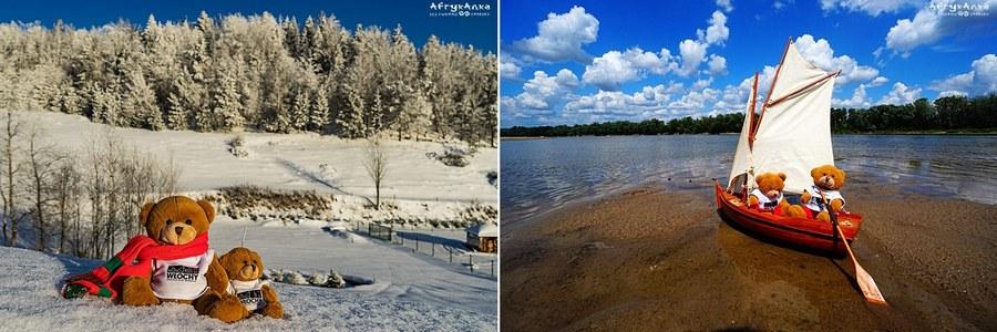 Zima w Beskidzie Niskim, lato nad Wisłą.