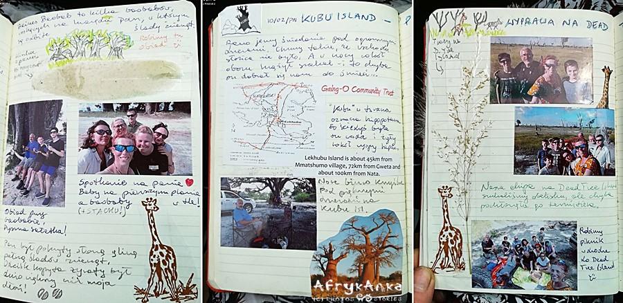 """Strony z pamiętnika """"Namibia - Botswana"""""""