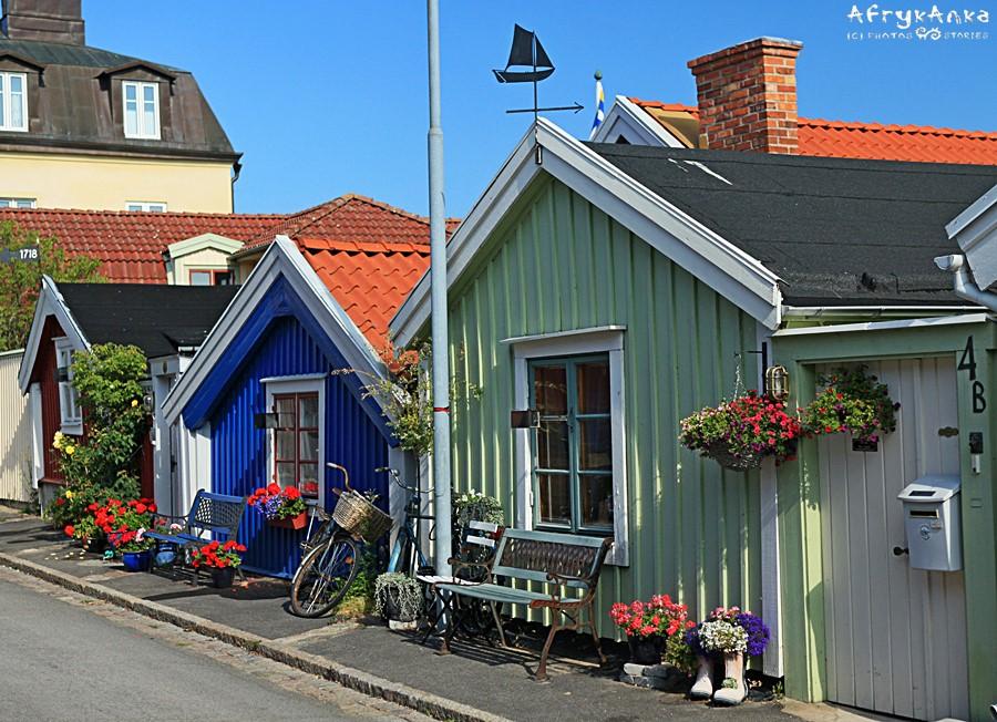 Wiekowe domki w Karlskronie.
