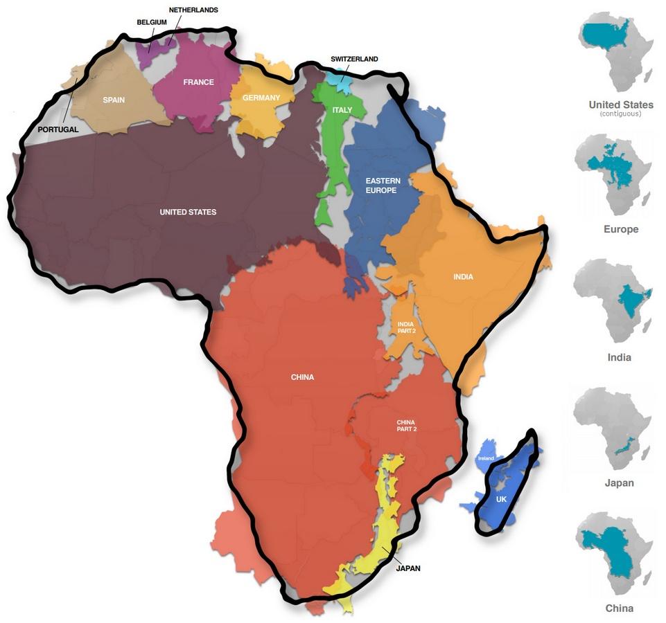 Porównanie wielkości Afryki i wybranych krajów. Mapa za zgodą autora Kai Krause.
