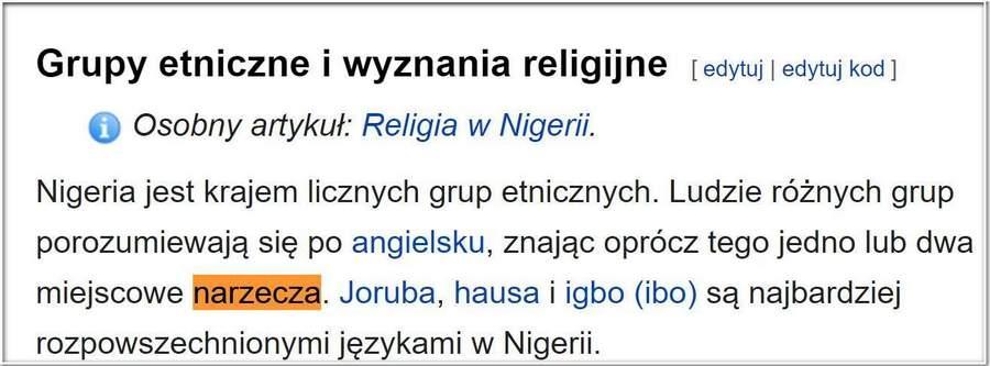 Opis z Wikipedii o językach Nigerii.