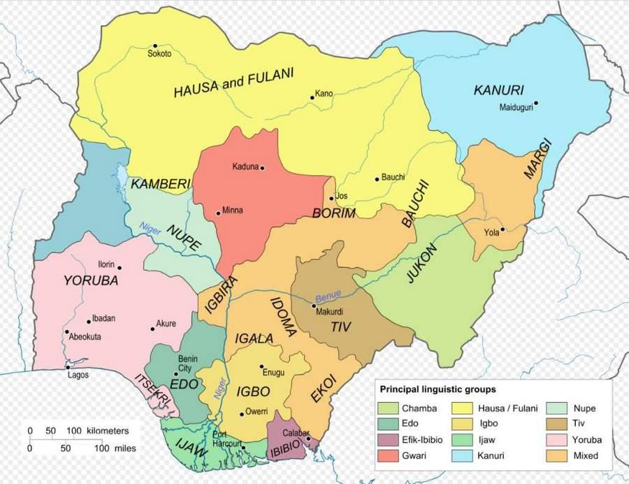Nigeria - mapa języków. Ten kraj to raj dla lingwistów.