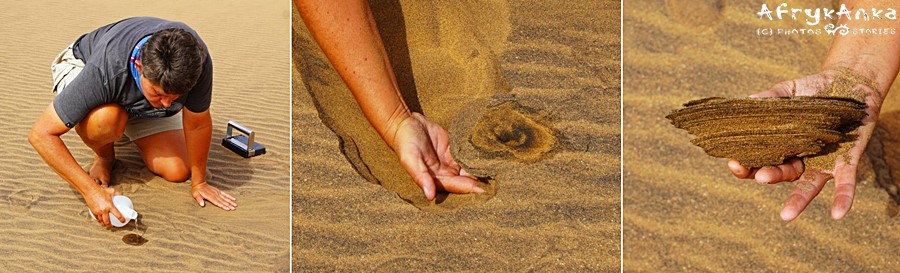 Twardy piasek tworzy warstwy.