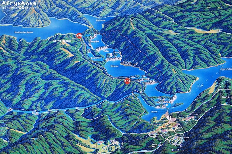 Zbliżenie mapy - Górne Jeziora Plitwickie.