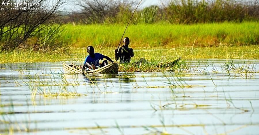 Jezioro Baringo: rybacy w swych łodziach.