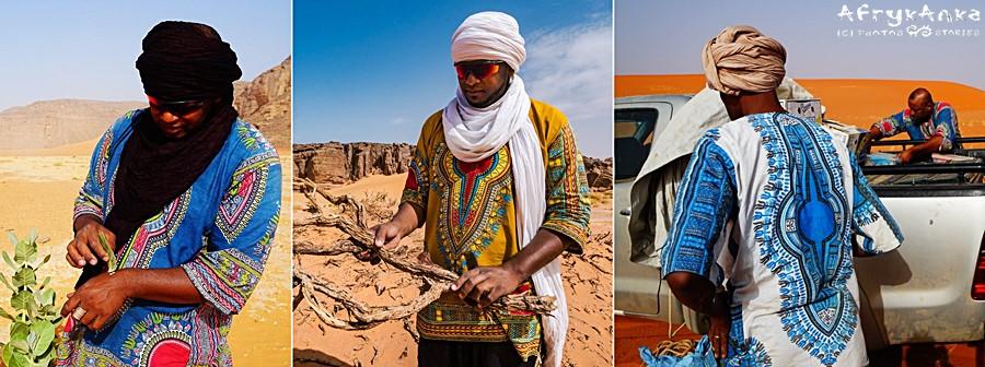 W Algierii na bluzach Tuaregów.