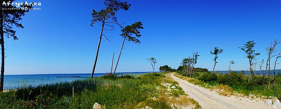 Za Darłówkiem jedziemy rowerem nad morzem i jeziorem Kopań.
