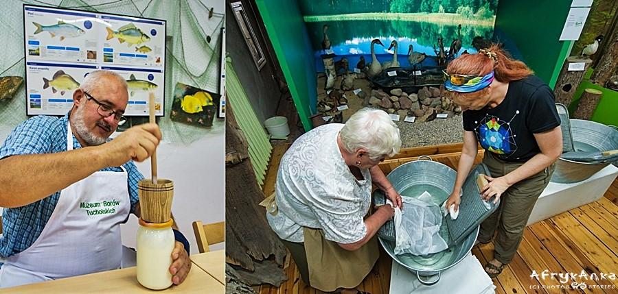 Muzeum w Tucholi: Krzyś ubija masło (pyszne!) ja robię pranie :)