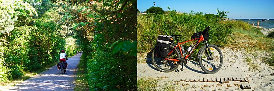 Ścieżka rowerowa wiedzie to lasem, to przy plaży.
